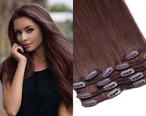 Remy Clip In Extensions Set 100% indisches Echthaar 7 teilig 100 gramm Echthaar für komplette Haarverlängerung 60 cm Clip-In Hair Extension Nr. 6 Mittelbraun -