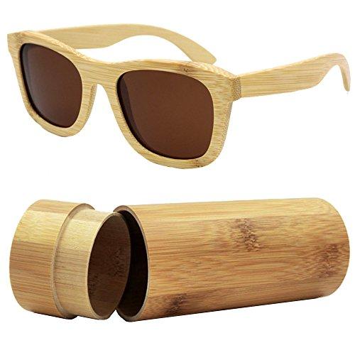 iSunHot 1-Pack Gafas de sol de Madera de Bambú con Marrón Lente Polarizada de Protección UV en Vintage Wayfarer Style - Auténtico Marco Natural para Hombres/Mujeres Anteojos Hechos a Mano en la Playa
