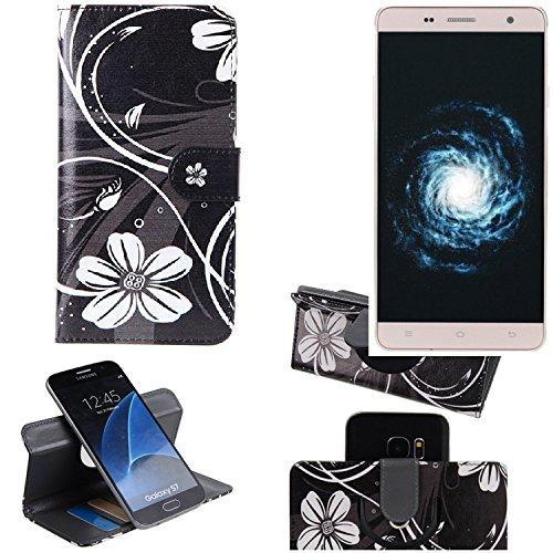 K-S-Trade Schutzhülle für Cubot H1 Hülle 360° Wallet Case Schutz Hülle ''Flowers'' Smartphone Flip Cover Flipstyle Tasche Handyhülle schwarz-weiß 1x