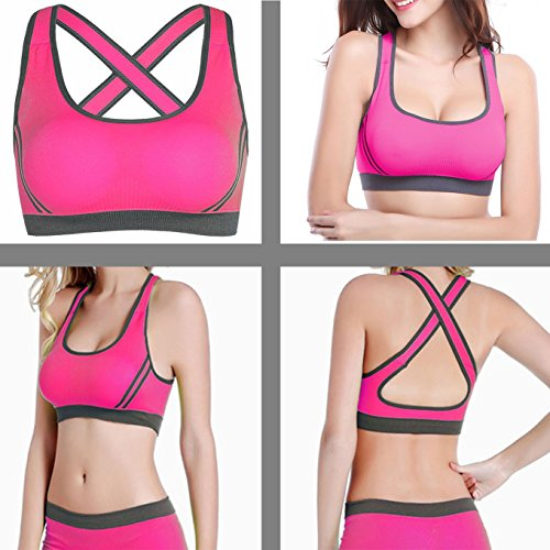 Orilife Women's Crossed Back Straps Push Up Sports Bra with Removable Pads Black-Black