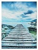 Wandbild Fotodruck Keilrahmen Bild Meer Steg Pier am Wasser 3D Optik 60x80 cm