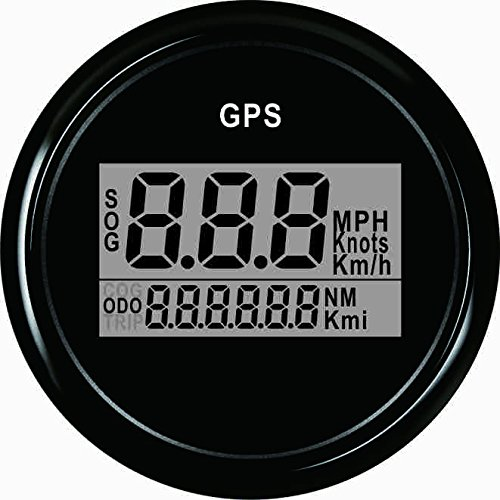 Garantierter digitaler GPS-Geschwindigkeitsmesser, Entfernungsmesser für Auto oder Boot, mit Hintergrundbeleuchtung, 52 Millimeter, 12V / 24V.