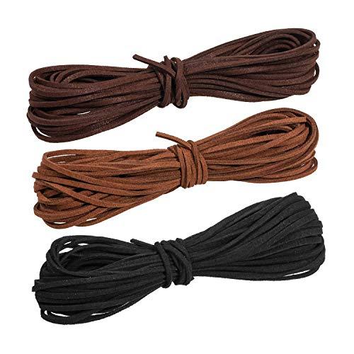 Whaline 3 Piezas 3 mm de Cordón de Ante Falso 3 Colores Cuerda de Cuero para Bricolaje Pulsera Abalorios Fabricación de Bisutería