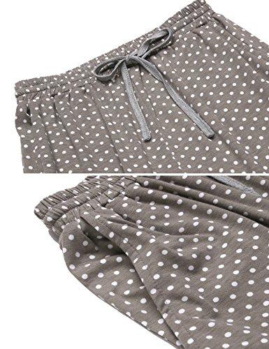 Ekouaer Damen Druck Schlafanzug Langarm Pyjama Polka Dots Zweiteiliger Lang Hausanzug Grau233