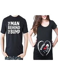 ADYK Cotton Couple Pregnancy Announcement T-Shirts Bump (Pack of 2)