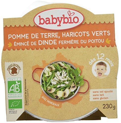 Babybio Assiette Pomme de Terre Haricots Verts Emincé de Dinde Fermière du Poitou 12+ Mois 230 g - Lot de 5