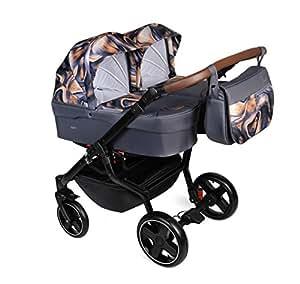 Dorjan Quick Twin Moderner Zwillingskinderwagen (Seite-an-Seite) KombiKinderwagen Duo Babywagen Buggy Kinderwagen System + Wickeltasche + Regenschutz + Insektenschutz (2w1, (TQ04) Graphit-Muster)