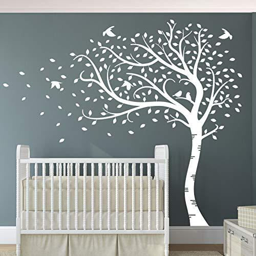 Premium Large Sweep Herbst, Baum mit Blättern und Vögeln, matt, Hochwertiges Vinyl-Wandtattoo e. All White -