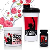 GAMER SUPPS GOD MODE + IMBA Pro Gaming Booster Paket, 280g + 60 Kapseln + Shaker, Geschmack:Himbeere