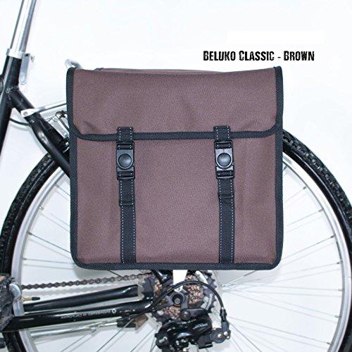 Beluko Classic Double Fahrrad-Taschen, beidseitig, für Damen- und Herrenfahrräder Braun