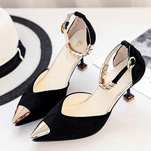 XY&GKSandales femmes Chaussures Femmes été High-Heeled, avec boucle chaussures fines,le meilleur service 39black