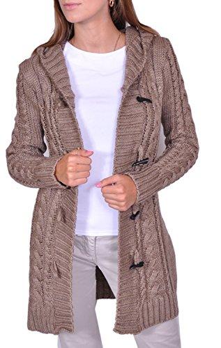 Damen Strick Jacke Mantel Pullover Neu mit Kapuze Beige Grau Warm (951) (M, Beige) -