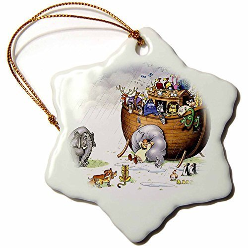 Christmas Gift Biblical Noahs Ark - Snowflake Decorative Figure (Porcelain, 7,6 cm)