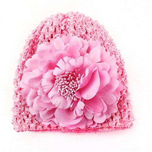 erthome Neugeborenen Baby Baumwolle Blume Hut Beanie Kleinkind Baby Mädchen Fotografie Cap Hut (Pink)