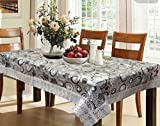 #9: Kuber Industries Waterproof Dining Table Cover 6 Seater 60*90 Inches (Exclusive 3D Design With Silver Lace)