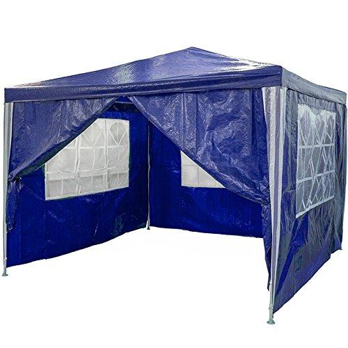 SAILUN 3 x 3 m Azul Carpa para jardín Pabellón para Carpa de Cerveza, Lona PE Impermeable, 4 Paredes Laterales, 3 x Ventanas, 1 x Puertas con Cremallera