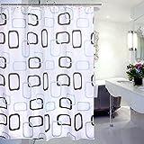 Duschvorhang Wasserabweisender Stoff 180 x 220 CM, Asnlove Polyester Duschvorhang Hochwertige Qualität Verstärktem Saum, Waschbarer Textil Duschvorhang für Badezimmer (180 x 220 CM mit Duschvorhangringe, Schwarz-Weiß-Gitter)