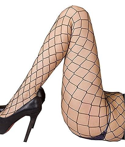 Minetom Femme Fille Sexy Collants Bas Résille Fishnet Stockings Élastique Skinny Tights Pantyhose Noir2 Une Taille
