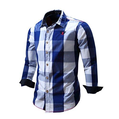 feiXIANG Männer Lange ärmel Bluse Baumwolle Slim Fit Kariertes Hemden Top M-3XL (M, Blau)