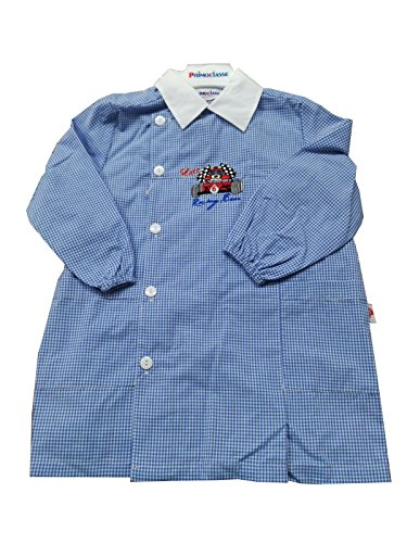 Primo della classe grembiule asilo bambino quadri cielo scuola materna per maschietto (art. 7p502) (60-5 anni)