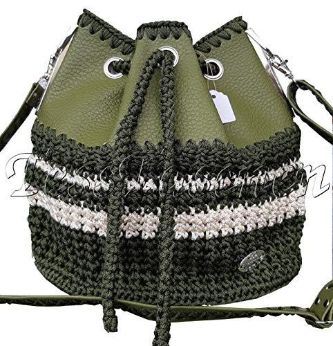 Damen Handtasche Hobo Tasche Gehäkelt Dunkelgrün Crossbody Tasche Eimer Tasche Sultertasche Khaki Beuteltasche -