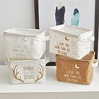 Preisvergleich für Yiuswoy Sets von 4 Baumwolle Organisieren Körbe mit Griffen klein Lagerung Organizer Körbe Aufbewahrungskorb Boxen - Rechteck