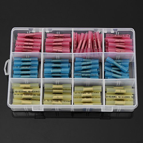 SOLOOP 180pcs terminali elettrici /guaine termorestringenti/capicorda/Connettori termoretraibili saldanti ,Wire terminals(rosso+Blu+giallo) - 600v Wire