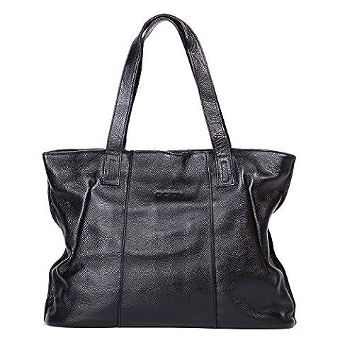 Leathario Damen Echtleder Umhängetasche Schultertasche Handtasche Henkeltasche Shopper Tasche Einkaufstasche