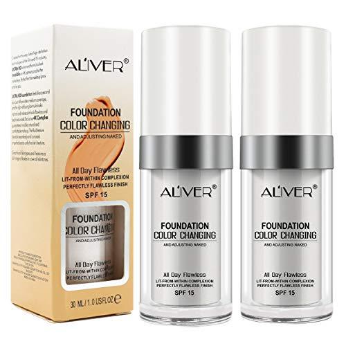 Fondation Liquide, (2 Pcs) Fond De Teint Changeant De Couleur - Base De Maquillage Nude - Correcteur De Couvrance Liquide Bb Creme Fond De Teint Couvrant Liquid Foundation