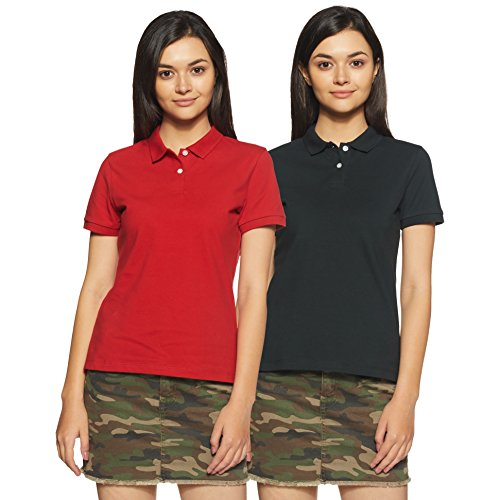 Amazon Brand – Symbol Women's Plain Regular Fit Polo (Pack of 2)