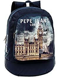 Pepe Jeans Mochila Adaptable a Carro, Diseño London, Color Azul, 22.85 Litros