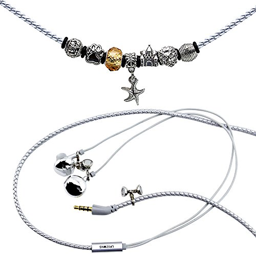 URIZONS In Ear Kopfhörer, In-Ohr Kopfhörer mit Mikrofon und Fernbedienung Pandora Perlen Wearable Wistband Halskette (Starfish Silber)