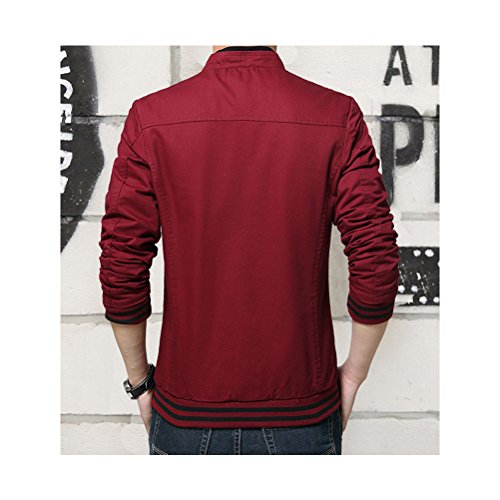 Zhhlaixing Classique Spring Men's Cotton Casual Coats Stand Collar Outerwear Zipped Jackets red