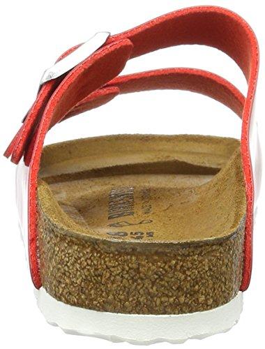 Birkenstock Arizona Birko-Flor, Ciabatte Donna Rot (Tango Red Lack)
