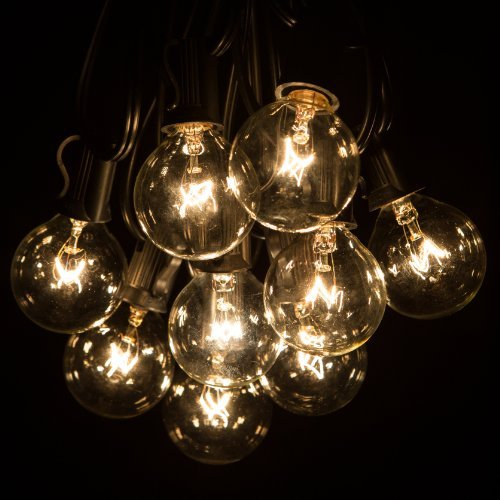tio String Lights with Clear Bulbs for Outdoor String Lighting (Black Wire) by