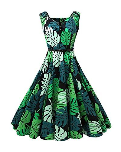 dcbeee07c Vestidos Mujer Vintage Vestido Anos 50 Falda Plisada Impresion Floral Swing Vestidos  De Fiesta A-