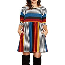 0986bdebbb0b Kleider Damen Pullover Kleid Elegant Brautjungfernkleid Lange Ärmel  Petticoat Ballkleid Hepburn Herbst Winter, Multicolor Streifen