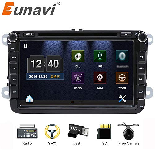 Estéreo de coche con Bluetooth, Eunavi Doble 2 Din 8 Pulgadas Car GPS de navegación En Dash Radio Reproductor de DVD Pantalla táctil Unidad de cabeza para VW Passat t5 Golf MK5 Jetta + Cámara de inver
