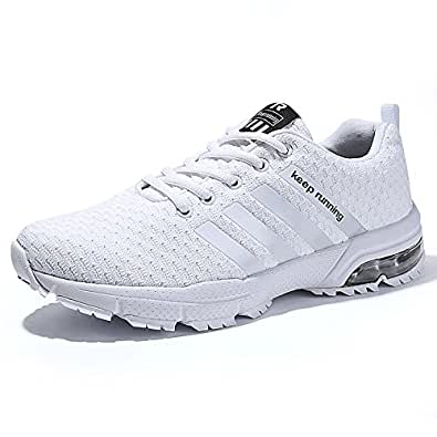 PAMRAY Scarpe Ginnastica Uomo Donna Running Sneakers da Corsa Air Cushion 3cm Fitness Basse Nero Blu Rosso Bianco Bianco 36