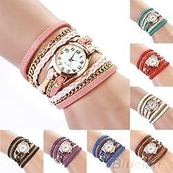 2014 New FAshion Hot Colorful Vintage women watches Weave Wrap Rivet Leather Bracelet wristwatches watch 0VB8