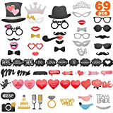 Herefun Mariage Photobooth Accessoires, 69pcs DIY Fun Wedding Photo Props pour Mariage Masquerade Christmas Birthday Graduation Partie Décoration