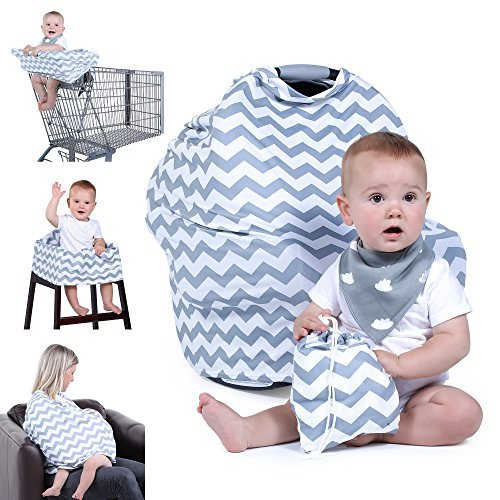Natural Baby Stuff Infant Car Seat Cover for Boys Girls - Breathable Stretchy Grey White Chevron Canopy with Bib Drawstring Bag Set - Shower Gift Trend Universal 5-in-1 Multi-use for Nursing