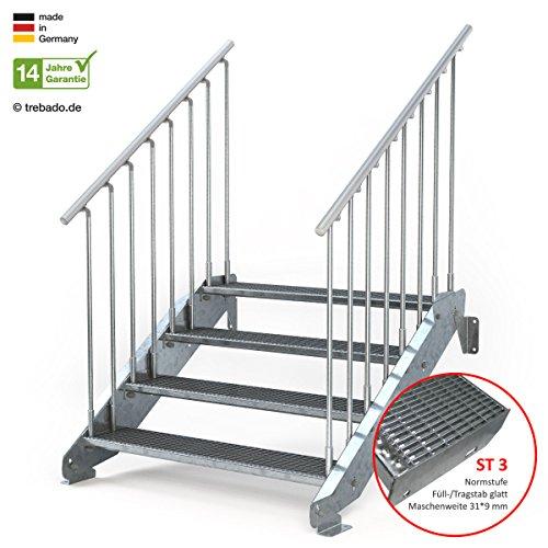 Außentreppe 4 Stufen 120 cm Laufbreite - beidseitiges Geländer - Anstellhöhe variabel von 62 cm bis 84 cm - Gitterroststufe ST3 - feuerverzinkte Stahltreppe mit 1200 mm Stufenlänge als montagefertiger Bausatz