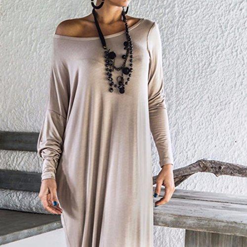 QIYUN.Z Frauen Einfarbig Elegantes Kleid Schulter Rock Lose Lange Aermel Abend Partei Grau