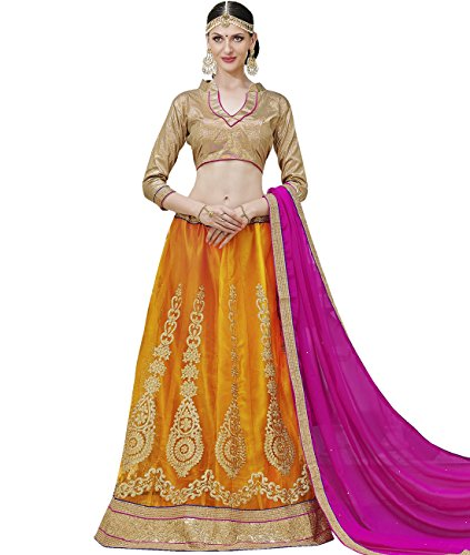 Indian Ethnicwear Bollywood Pakistani Wedding Mustard A-Line Lehenga Semi-stitched