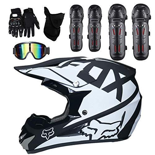 Alvyu Casco da Motocross per Adulto Uomo Donna off Road DOT Outdoor Full Face MX Dirt Bike Casco Moto ATV Occhiali Antivento gratuiti Maschere Guanti Gomitiere e Ginocchiere,XL