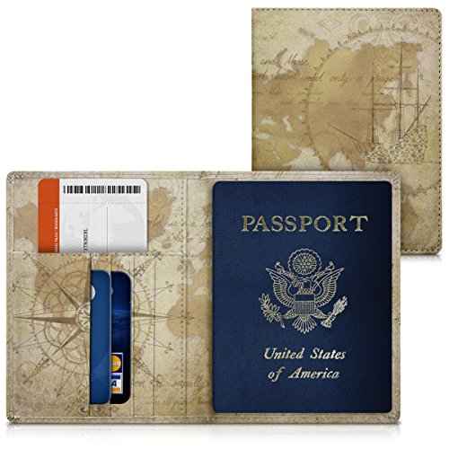 kwmobile Reisepass Hülle Ausweishülle Kartenetui - Kunstleder Kartentasche Kartenhülle in Weltkarte Vintage Design Braun Hellbraun - Reisepasshülle mit Kartenfächern