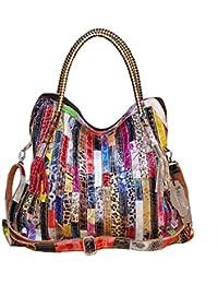 fd5a4d4616e65 Segater® Damen Multicolor Einkaufstasche Echtes Leder Handtasche Bunte  Patchwork Große Umhängetasche Shopper Taschen Großer…