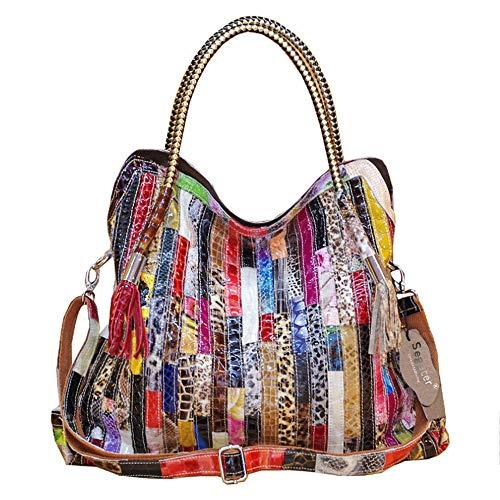 Segater® Damen Multicolor Einkaufstasche Echtes Leder Handtasche Bunte Patchwork Große Umhängetasche Shopper Taschen Großer Crossbody Hobo Handtasche -