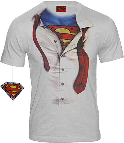 Superman Herren Logo T-Shirt Clark Kent - Man of Steel (Weiss) (S-XL) (L)